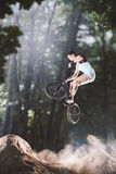Всадник велосипеда Bmx в лесе Стоковая Фотография RF