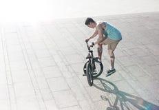 Всадник велосипеда Bmx на самых интересных Стоковые Изображения RF