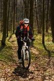 Всадник в действии на встрече горного велосипеда фристайла Стоковые Изображения