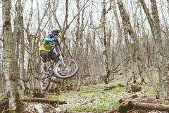 Всадник горного велосипеда скачет от трамплина в туманном лесе, в горах Кавказа Стоковые Изображения