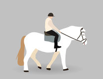 Всадник на белой лошади также вектор иллюстрации притяжки corel Стоковые Фотографии RF