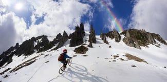 Всадник на горном велосипеде Стоковое Изображение RF
