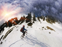 Всадник на горном велосипеде Стоковая Фотография RF
