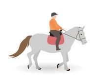 Всадник на серой лошади также вектор иллюстрации притяжки corel Стоковые Изображения