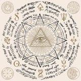 Всевидящее око бога внутри пирамиды треугольника иллюстрация вектора