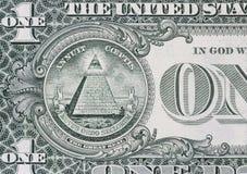 Всевидящее око на долларе стоковые изображения