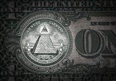 Всевидящее око на одном долларе мир нового порядка характеры элиты 1 доллар Стоковая Фотография RF