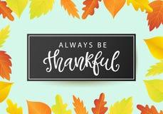 Всегда благодарный Шаблон плаката официальный праздник в США в память первых колонистов Массачусетса с яркими листьями Стоковые Фото