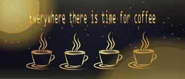 Всегда время для кофе знамя на время перерыва на чашку кофе Стоковые Изображения