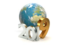 всемирная земля 3d-illustration планеты 2019 Элементы этого I Стоковое Изображение