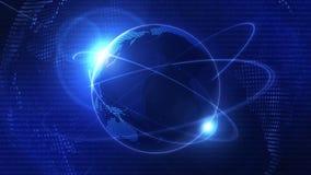 Предпосылка сети глобального бизнеса Голубая земля Символ дела Анимация петли иллюстрация штока