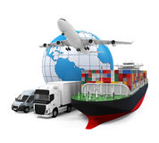 Всемирная иллюстрация грузового транспорта Стоковое Изображение RF