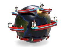 Всемирная концепция грузових кораблей иллюстрация вектора