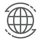 Всемирная линия значок, глобус и мир, знак планеты иллюстрация штока