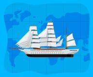 Всемирное море путешествуя плакат с большим caravel Стоковое фото RF