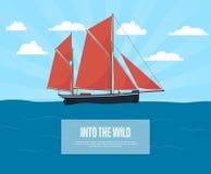 Всемирное море путешествуя плакат с парусником бесплатная иллюстрация