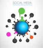 Всемирное сообщение и социальное искусство концепции средств массовой информации Стоковое Фото