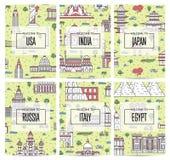 Всемирные плакаты путешествовать в линейном стиле Стоковые Изображения