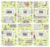 Всемирные плакаты путешествовать в линейном стиле Стоковая Фотография