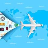 Всемирный воздух путешествуя плакат с самолетом двигателя бесплатная иллюстрация