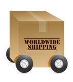 Всемирный магазин паутины перевозкы груза иллюстрация вектора