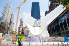 Всемирный торговый центр в Нью-Йорке когда он находилось под конструкцией стоковое фото rf