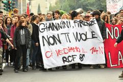 Всеобщая забастовка против правительства в Италии Стоковые Изображения RF