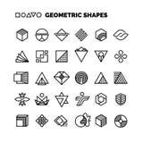 Всеобщие черно-белые геометрические формы вектора изолированные для графического дизайна Стоковые Фотографии RF