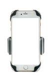 Всеобщий держатель телефона для мотоцилк и велосипеда автомобиля с установленным smartphone белизны пустого экрана белизна изолир Стоковые Изображения RF