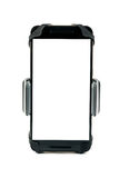 Всеобщий держатель телефона для мотоцилк и велосипеда автомобиля с установленным smartphone пустого экрана белизна изолированная  Стоковая Фотография