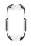 Всеобщий держатель телефона для мотоцилк и велосипеда автомобиля с установленным smartphone пустого экрана белизна изолированная  Стоковое Изображение RF