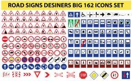 Всеобщий комплект 162 дорожных знаков иллюстрация вектора
