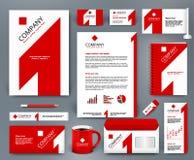 Всеобщий шаблон одно фирменного стиля wiith красный на белом фоне Стоковые Изображения