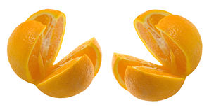 2 всех апельсина отрезали в 8 этапов Стоковые Фото