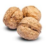 3 всех грецкого ореха изолированного на белой предпосылке Путь клиппирования Стоковое Изображение RF