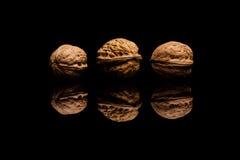 3 всех грецкого ореха изолированного на черной предпосылке Стоковое Изображение RF