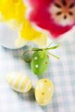 2 всех пасхального яйца принципиальной схемы цыпленока ведра цветут детеныши покрашенные травой помещенные Стоковые Изображения