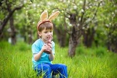 2 всех пасхального яйца принципиальной схемы цыпленока ведра цветут детеныши покрашенные травой помещенные Уши зайчика счастливог Стоковое Фото