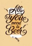 Все вам пиво Винтажный каллиграфический дизайн пива grunge также вектор иллюстрации притяжки corel иллюстрация вектора