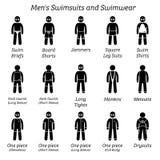 Все дизайны купальников и swimwear людей иллюстрация вектора