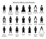 Все дизайны юбок и платьев женщин иллюстрация штока