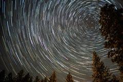 Вселенная закручивая в спираль вокруг полярной звезды на ночном небе стоковые фотографии rf