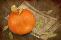 Все еще жизнь тыквы, старой бумаги и листьев залива Стоковое фото RF