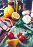Все еще овощи рыб Стоковое Изображение RF