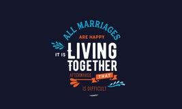 Все замужеств счастливы Оно ` s живя совместно потом которое трудно иллюстрация вектора