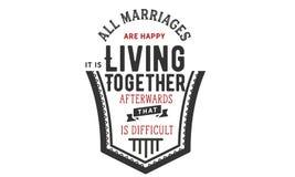 Все замужеств счастливы Оно ` s живя совместно потом которое трудно бесплатная иллюстрация
