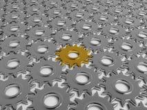 все золото шестерни двигая другие Стоковое Изображение RF