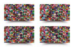 Все национальные флаги мира стиль развевать и предпосылки r иллюстрация вектора