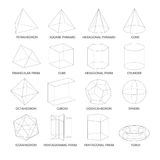 Все основное 3d формирует шаблон Реалистический с тенью Стоковые Фото