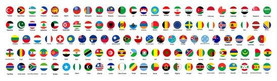 Все официальные национальные флаги мира Круговой дизайн бесплатная иллюстрация